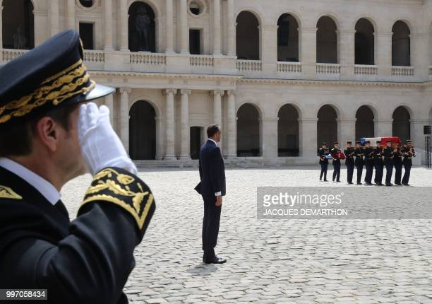 French Prime minister Edouard Philippe takes part in a tribute ceremony to French filmmaker and writer Claude Lanzmann on July 12 at the Invalides in...