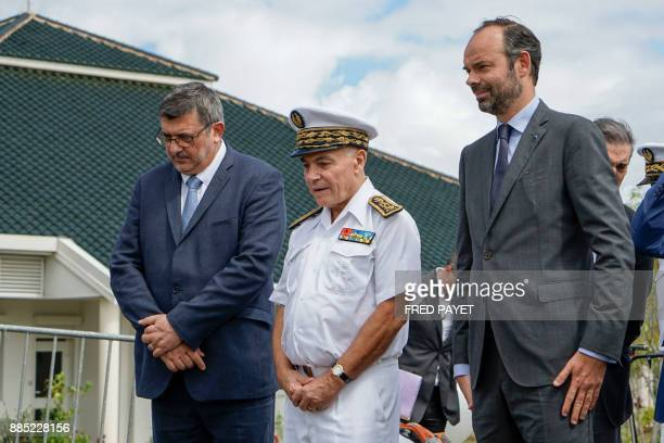 French Prime Minister Edouard Philippe takes part in a welcoming ceremony arrives to visit Kone a city in Grande Terre island on December 4 during...