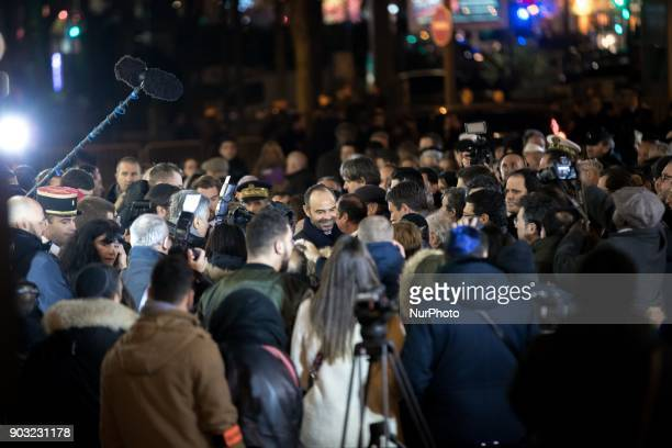 French Prime Minister Edouard Philippe takes part in the gathering organized by the Representative Council of France's Jewish Associations outside...