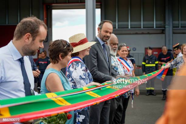 French Prime Minister Edouard Philippe takes part in the inauguration of a rescue centre in KonePouembout in Kone a city in Grande Terre island on...