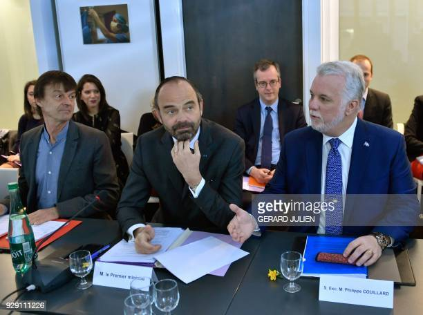 French Prime minister Edouard Philippe the Prime minister of the Canadian province Quebec Philippe Couillard and French Minister for the Ecological...