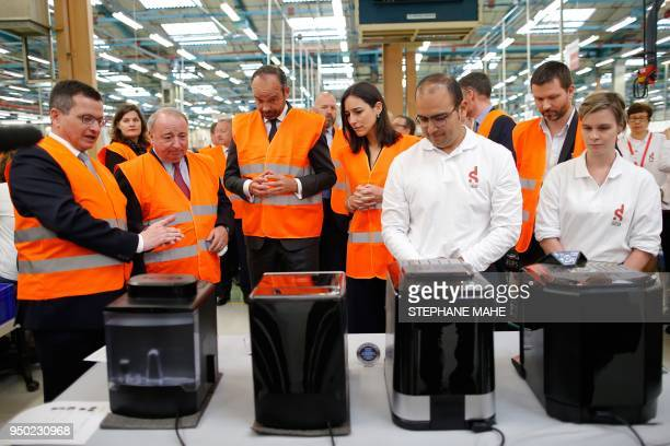 French Prime Minister Edouard Philippe Thierry de la Tour d'Artaise Chairman and CEO of French electrical goods company Groupe SEB and French Junior...