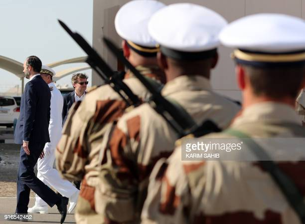 French Prime Minister Edouard Philippe tours a military base where French soldiers are stationed in Abu Dhabi on February 10 2018 / AFP PHOTO / KARIM...