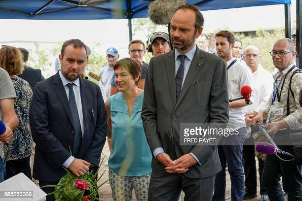 French Prime Minister Edouard Philippe visits an activity zone in the customary area of Kone a city in Grande Terre island on December 4 during his...