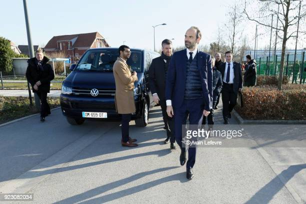 French Prime Minister Edouard Philippe visits Northern France on February 22 2018 in Pecquencourt near Douai France