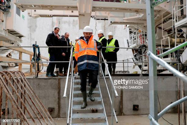 French Prime Minister Edouard Philippe visits the drilling site of the future Metro Line 15 South of the Grand Paris Express on January 23 2018 in...