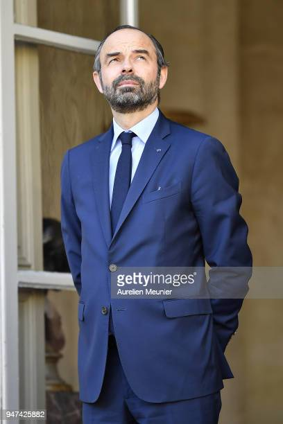 French Prime Minister Edouard Philippe waits for Canadian Prime Minister Justin Trudeau for a meeting at Hotel de Matignon on April 17 2018 in Paris...