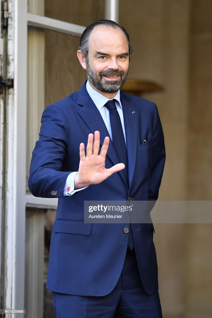 French Prime Minister Edouard Philippe waits for Canadian Prime Minister Justin Trudeau for a meeting at Hotel de Matignon on April 17, 2018 in Paris, France. The Canadian PM is on a two-day visit to France.
