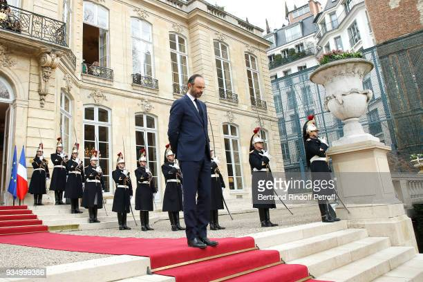 French Prime Minister Edouard Philippe waits for GrandDuc Henri and GrandeDuchesse Maria Teresa of Luxembourg at 'Hotel de Matignon' during their...
