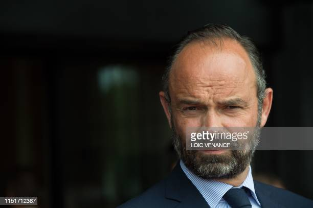 French Prime Minister Edouard Philippe waits for the arrival of his Russian counterpart during an official visit in Le Havre western France on June...