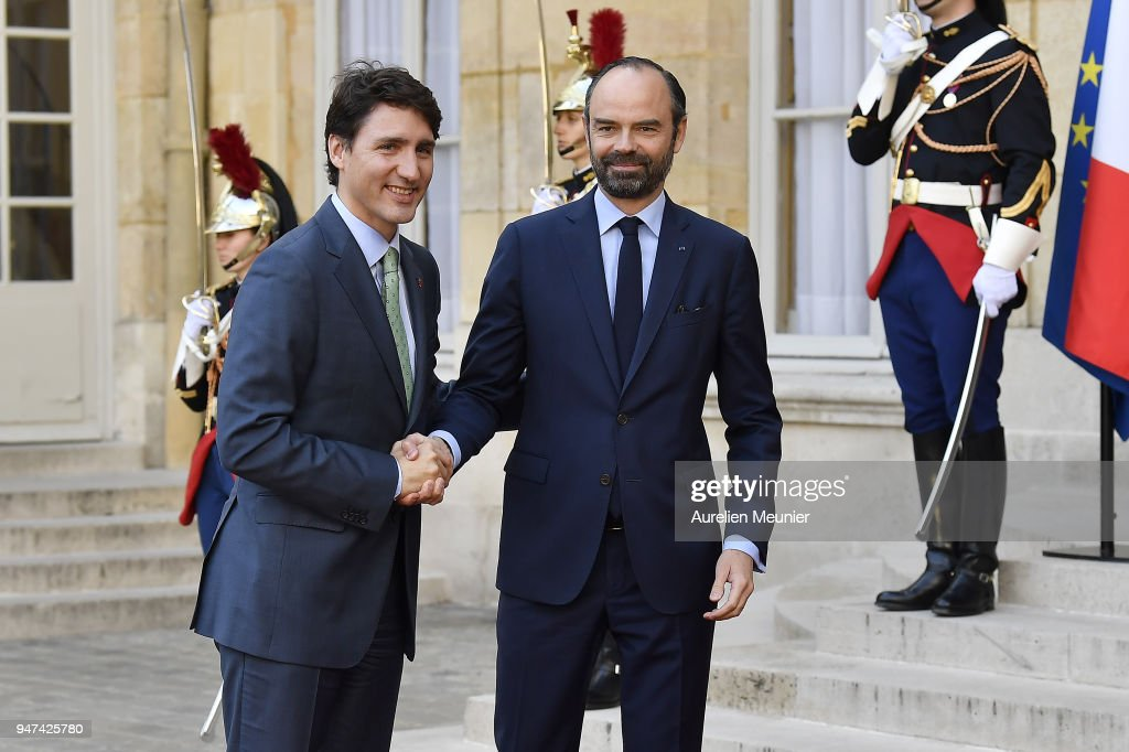 French Prime Minister Edouard Philippe welcomes Canadian Prime Minister Justin Trudeau for a meeting at Hotel de Matignon on April 17, 2018 in Paris, France. The Canadian PM is on a two-day visit to France.