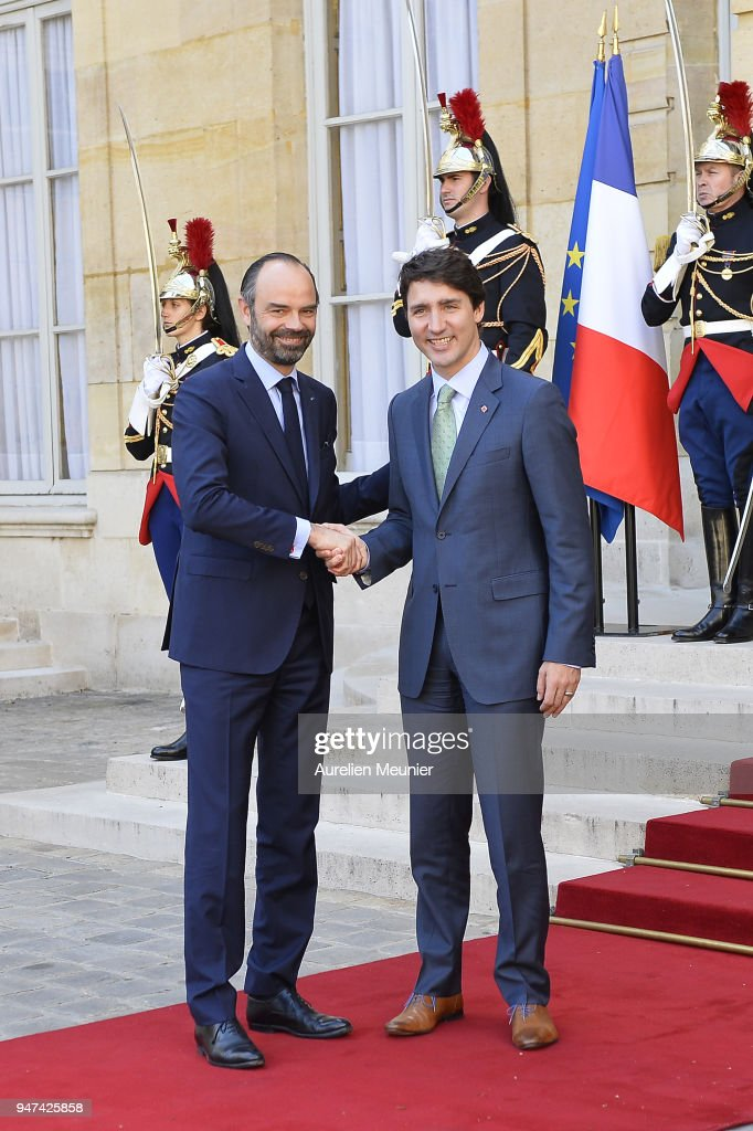 French Prime Minister Edouard Philippe welcomes Canadian Prime Minister Justin Trudeau for a meeting at Hotel de Matignon on April 17, 2018 in Paris, France. The Canadian PM is on a two-day visit in France.