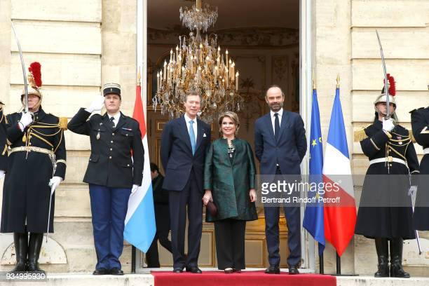"""French Prime Minister Edouard Philippe welcomes Grand-Duc Henri and Grande-Duchesse Maria Teresa of Luxembourg at """"Hotel de Matignon"""" during their..."""