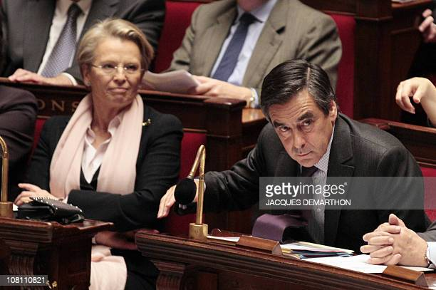 French Prime minister Francois Fillon and Foreign affairs minister Michelle AlliotMarie take part in the weekly session of the questions to the...