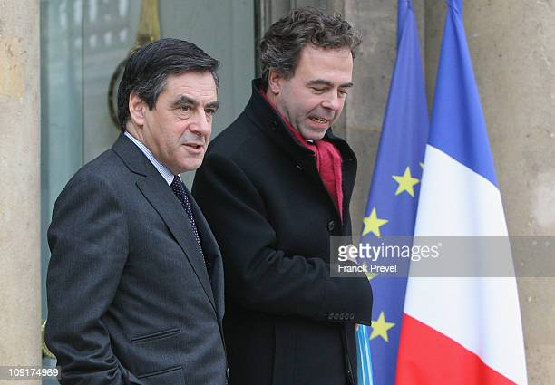 French Prime Minister Francois Fillon and French Education and Youth Minister Luc Chatel leave the weekly cabinet meeting at Elysee Palace on...