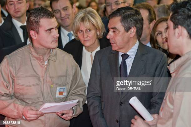 French Prime Minister Francois Fillon and French Minister Nadine Morano during visiting learning institut on January 25 2012 in Lyon France