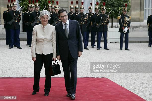 French Prime Minister Francois Fillon and his wife in Paris France on June 13 2008