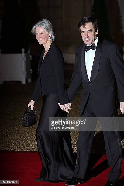 French Prime Minister Francois Fillon and his wife Penelope attend the state dinner in honor of Israeli President Shimon Perez at the Elysee Palace...