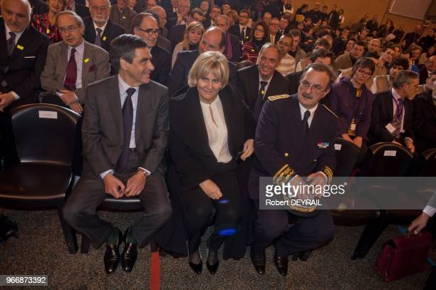 French Prime Minister Francois Fillon and Nadine Morano during the visit at learning institut on January 25 2012 in Lyon France