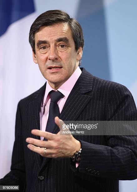 French Prime Minister Francois Fillon attends a press conference at the Chancellery on March 10 2010 in Berlin Germany German Chancellor Angela...