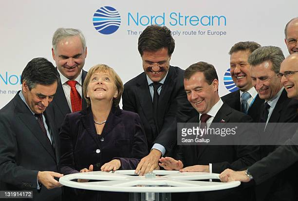 French Prime Minister Francois Fillon German Chancellor Angela Merkel Dutch Prime Minister Mark Rutte Russian President Dmitry Medvedev and European...