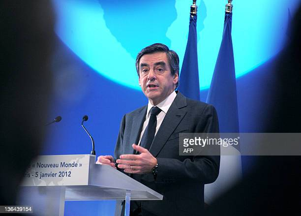 "French Prime Minister Francois Fillon gives a speech to launch the 4th edition of the ""Colloque Nouveau Monde"" at the Economy Ministry on January 5,..."