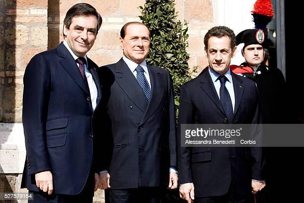 French Prime Minister Francois Fillon Italian Prime Minister Silvio Berlusconi and French President Nicolas Sarkozy arrive at Villa Madama for a...