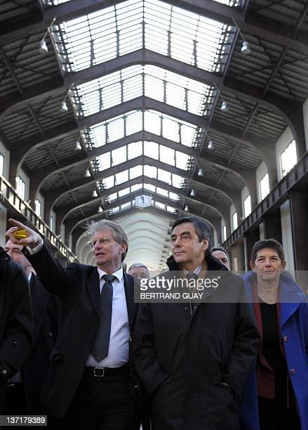 French Prime minister Francois Fillon visits the project of the Cité du Cinéma with SeineSaintDenis deputy Patrick Braouzec and SaintOuen mayor...
