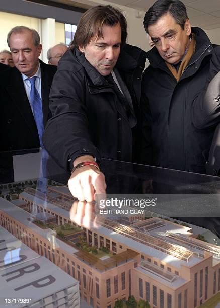French Prime minister Francois Fillon visits the project of the Cité du Cinéma with publicist Christophe Lambert and Urban Development Minister...