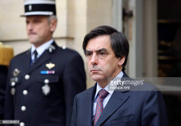 French prime minister François Fillon waits for his Armenian counterpart 25 October 2007 at the Hotel Matignon the French Premier's residency in...
