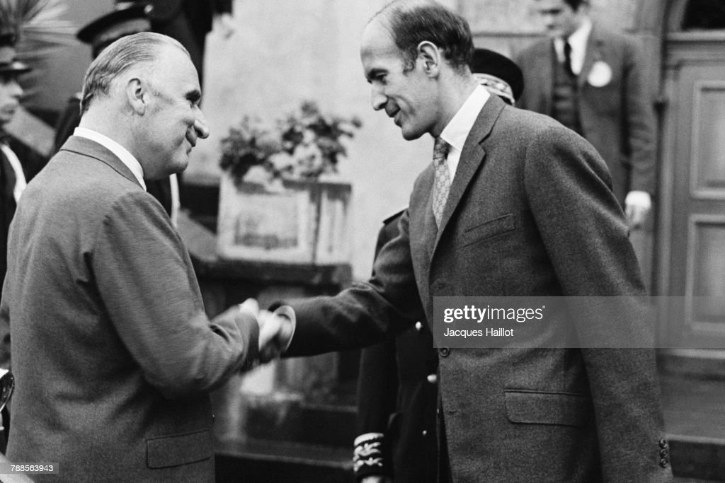 French Prime Minister Georges Pompidou and Mayor of Chamalieres, Valery Giscard d'Estaing.