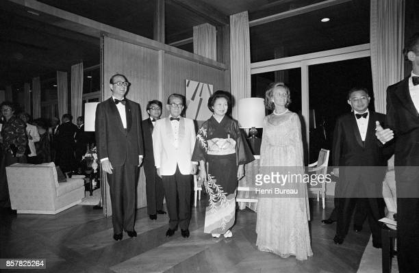 French Prime Minister Jacques Chirac and his wife Bernadette receiving in Tokyo's french embassy the Japanese Prime minister Takeo Miki and his wife...