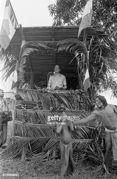 French Prime Minister Jacques Chirac gives a speech in French Guiana during an official visit to France's overseas territories 24th December 1975