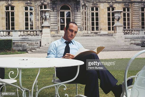 French Prime Minister Jacques Chirac in the gardens of Hotel Matignon