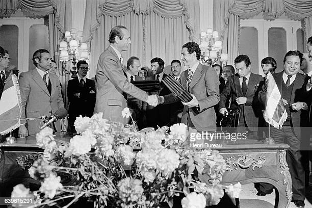 French Prime Minister Jacques Chirac is welcomed in Tripoli by Prime Minister of Libya Abdessalam Jalloud.
