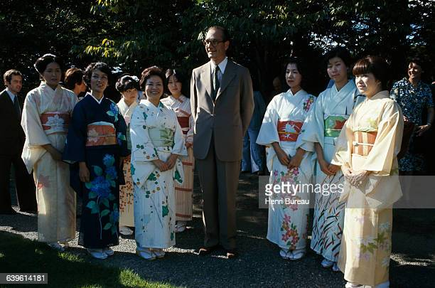 French Prime Minister Jacques Chirac on a trip to Japan