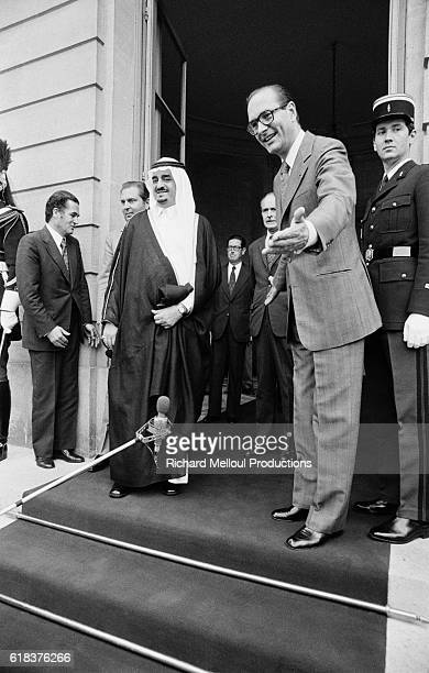 French Prime Minister Jacques Chirac welcomes Saudi Arabian Crown Prince Fahd in Paris Prince Fahd made an official visit to France in 1975 the year...