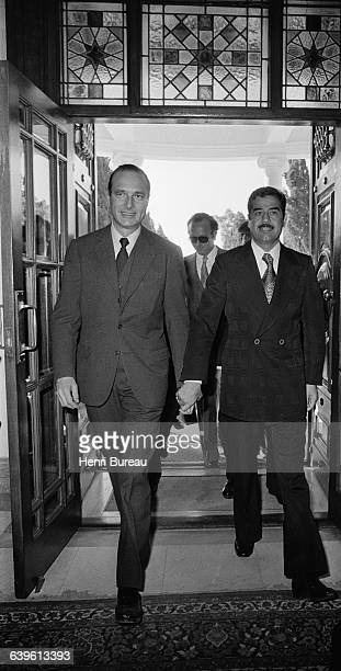 French Prime Minister Jacques Chirac with Iraqi Vice President Saddam Hussein during the last day of an official visit to Iraq Chirac held the...