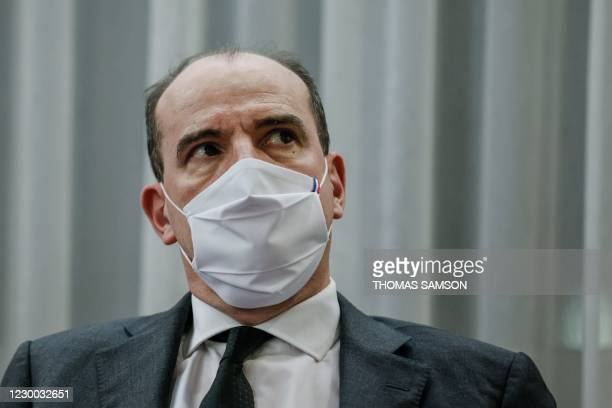 """French Prime Minister Jean Castex attends a meeting at the prefecture de l'Essonne during a visit focused on the government's """"draft law to..."""