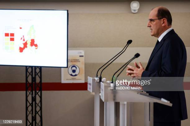 French Prime Minister Jean Castex delivers a speech during a press conference, at the Hotel Matignon, in Paris, on October 22 announcing the...