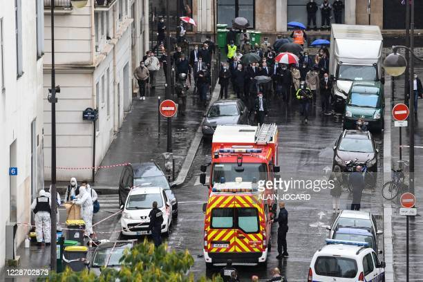 French Prime Minister Jean Castex , French Interior minister Gerald Darmanin and the Mayor of Paris Anne Hidalgo arrive at the scene where several...