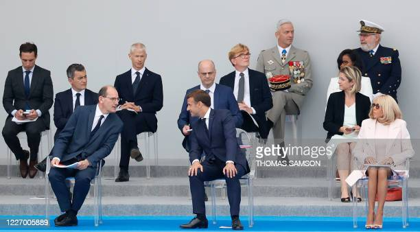 French Prime Minister Jean Castex French President Emmanuel Macron his wife Brigitte Macron French Interior Minister Gerald Darmanin French Education...