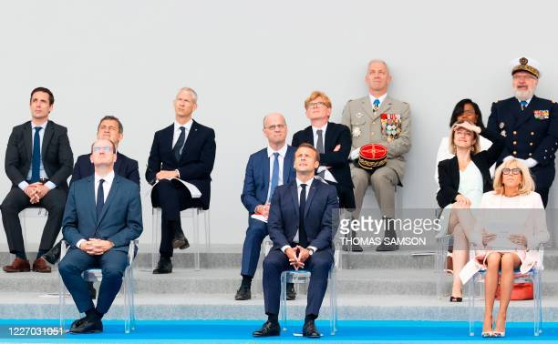 French Prime Minister Jean Castex French President Emmanuel Macron and his wife Brigitte Macron French Interior Minister Gerald Darmanin French...