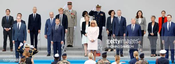 French Prime Minister Jean Castex French President Emmanuel Macron and his wife Brigitte Macron President of the French Senate German Health Minister...