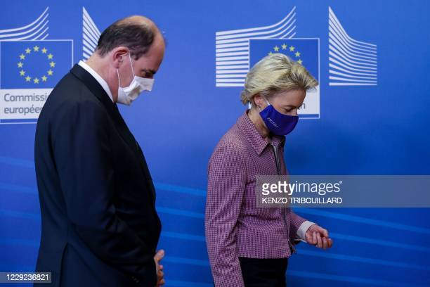 French Prime Minister Jean Castex is welcomed by President of the European Commission Ursula von der Leyen at the European Commission in Brussels on...