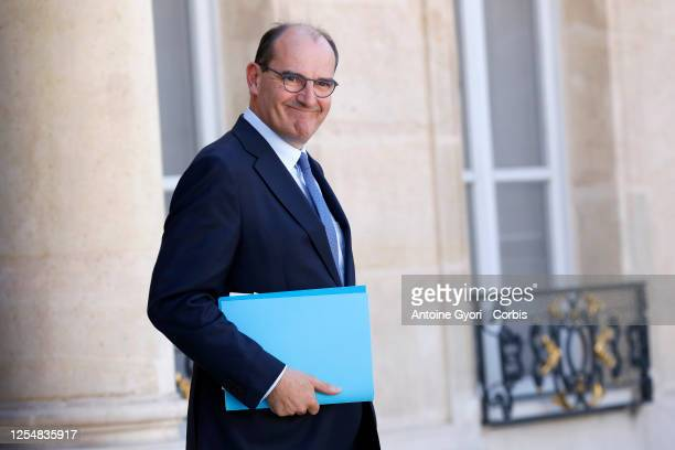French Prime Minister Jean Castex leaves after attending the first weekly cabinet meeting after the government reshuffle at the Elysee Palace in...