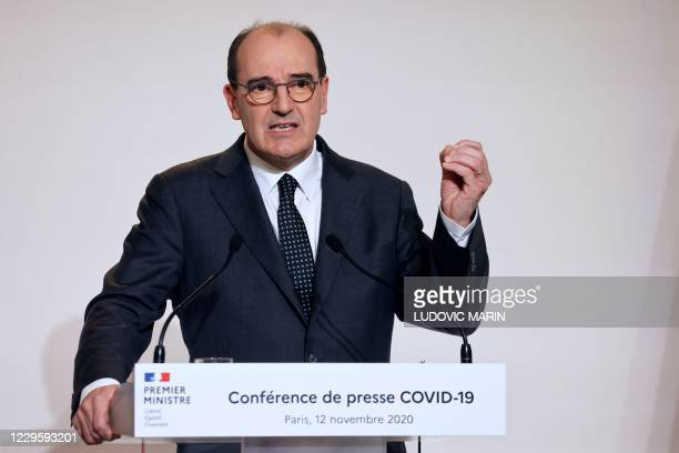 French Prime Minister Jean Castex speaks during a press conference at the French Health Ministry in Paris on November 12 nearly two weeks into a...