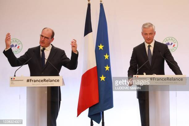 French Prime Minister Jean Castex speaks next to French Economy and Finance Minister Bruno Le Maire during a press conference on September 3 2020 to...
