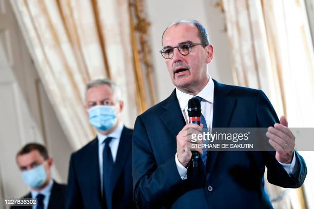 French Prime Minister Jean Castex speaks while French Junior Minister of Public Action and Accounts Olivier Dussopt and French Economy and Finance...