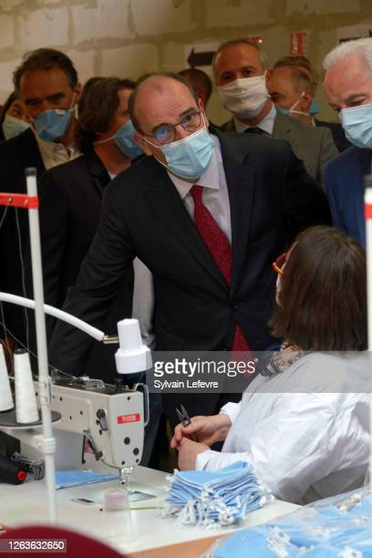 French Prime Minister Jean Castex visits a face masks factory in Roubaix near Lille as part of a visit to Lille on August 03 2020 in Lille France The...